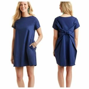 Vineyard Vines Navy Short Sleeve Bow Back Dress